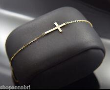 "14k Gold Cross Bracelet Sideways Adjustable Rolo Chain Link 7""-8"" Latin Cruz Oro"