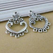 15x Tibetan Silver Earrings Charm Pendant Heart Connectors Jewellery Making N775
