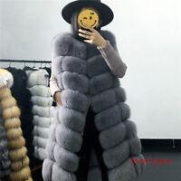 Real Genuine warm Fox Fur Gilet Long Vest Coat Women Waistcoat Jacket Overcoat