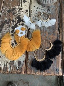 Statement Bold Tassle Earrings Lot Of Three Pair White Black And Gold