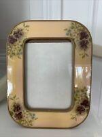 "Vintage The Bucklers Inc Enamel Frame # #35 3"" x 5"" Handcrafted in USA Pansies"