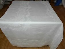 71x121 Vtg Antique White IRISH LINEN DOUBLE DAMASK Tablecloth