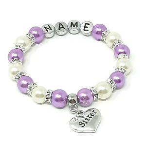 Personalised Sister Niece Mum Birthday Christmas Charm Bracelet Free Gift Bag