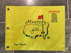 Undated Masters Souvenir Flag w/ Tiger Woods PGA 5x Champion Augusta National