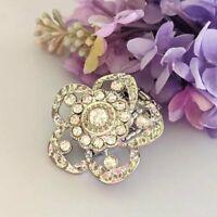 Flower Fashion Ring Stretch Band Silver Tone Clear Rhinestones Costume Jewelry