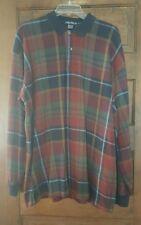 Vtg Nautica Plaid Heavy Knit Polo Shirt Long Sleeve Mens XL