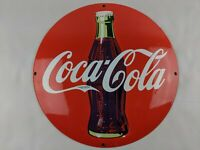 "VINTAGE COCA COLA GENERAL STORE CONCAVE 11.80"" RED PORCELAIN METAL SIGN PUMP"