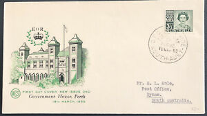 Australia FDC WCS 1959 New Issue 31/2d Stamp Government House Perth
