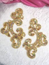 """0242 ~ Gold Holographic MIRROR PAIR ~ SEQUIN BEADED APPLIQUES ~ 6"""""""