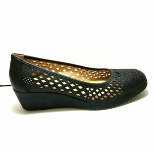 NEW Naturalizer Womens Wedge Leather Pumps Size 7.5 Black Comfort Shoes