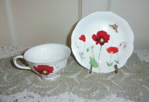Grace's Teaware Poppy and Butterfly Tea Cup and Saucer