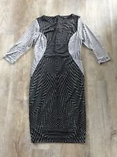 Autograph~Black&White Abstract Pencil Wiggle~ Dress~size 10~Brand New