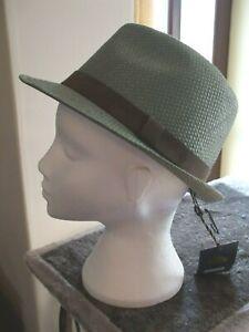 Men's Failsworth Narrow Brimmed Straw Trilby Hat Colour Sage Green Size Medium