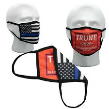 Red Trump Thin Blue Line Police Face Mask Washable Mask ✅ Double  ✅ Layer