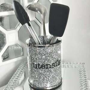 Crushed Diamond Crystal Filled Utensil Holder, Spoons Kitchen Bling Gift
