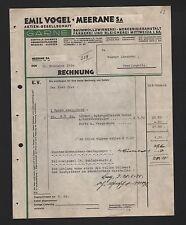 MEERANE, Rechnung 1934, Emil Vogel AG Garne Baumwollzwirnerei Färberei Bleichere