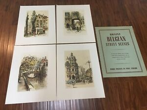 Jan Korthals Belguim Street Scenes 4 Color Prints Donald Art Co  Printed Holland