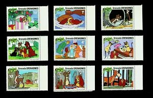 GRENADA GRENADINES 1981 CHRISTMAS: LADY & THE TRAMP DISNEY CARTOON 9v MNH STAMPS