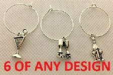 6 x WINE GLASS CHARMS, 3 TO CHOOSE FROM, SILVER, COCKTAIL, METAL TABLE CHARM