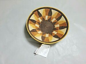 Natural Grass  Woven Round Coil Bowl Basket Made in Swaziland 8.25'' W