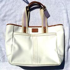 Coach Hampton Nylon Tote Handbag Purse Bag Ivory White A0768 F10695 EUC