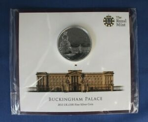 """2015 Royal Mint Silver £100 coin """"Buckingham Palace"""" in Card Holder - Sealed"""