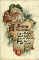 Christmas - Santa Claus & Child TUCK #525 Brundage c1910 Postcard