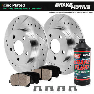 Rear Drill & Slot Brake Rotors And Ceramic Pads For Mountaineer Ford Explorer