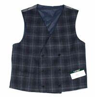 Lauren by Ralph Lauren Mens Suit Vest Blue Size Large L Plaid Wool $125 #122