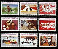 Disney 101 Dalmatians mnh 9 stamps 1988 Grenada Grenadines #988a-i Cruella Pongo