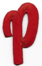 """LETTERS - Red Script  2"""" Letter """"P"""" - Iron On Embroidered Applique"""