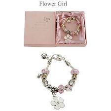 """AMORE ARGENTO / ORO Bracciale con Charm """"Flower Girl"""" - scatola nozze regalo!"""