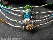 Shamballa Australian crystal Pave choker necklace unique bead grey green gold