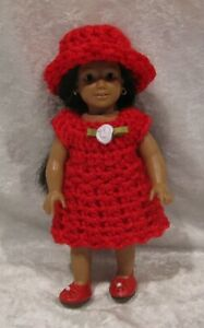 Made to fit  Mini AMERICAN GIRL #02 Crochet Dress & Hat,   Handmade doll clothes