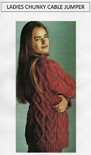 VINTAGE KNITTING PATTERN - LADY'S CHUNKY CABLE JUMPER - CHUNKY - LAMINATED