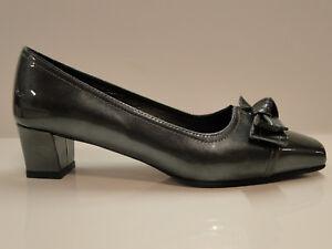 HB Espana 'Felice CZ' Ladies Charcoal Panetent Leather 1.5 inch cuban heel- UK 4