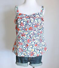 CABI Floral Geometric Sweetheart Empire Waist Peplum Tank Top Shirt Blouse 10