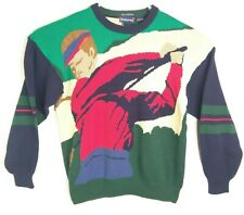 Hathaway Mens Large Cotton Knit Sweater Golf Theme Hand Intarsia Vintage 90s