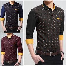 New Fashion men's Luxury Casual Denim Slim Fit Stylish Polka Dot Dress Shirts