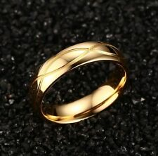 1PC Size 11 Men Fashion Gold Titanium Steel Rings Charm Boy Luxury Jewelry