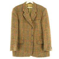 Harris Tweed 100% Laine Marron Veste Blazer Taille US/UK 44 Court Eur 54 Courte