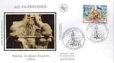 3777+ FDC  ENVELOPPE 1er JOUR SUR SOIE FONTAINE DES QUATRE-DAUPHINS AIX EN PROV.