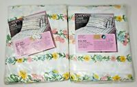 Vintage Sears Floral Sheets NOS Garden Stripe Full Size Flat & Fitted Sealed