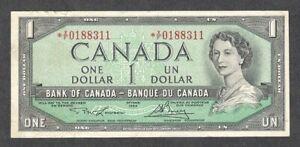 1954 *X/F $1.00 F-VF Scarce ASTERISK REPLACEMENT NOTE Key QEII Canada One Dollar