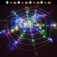 Halloween LED Spider Web Outdoor Horror Party Prop Light Up Cobweb Spooky Decor