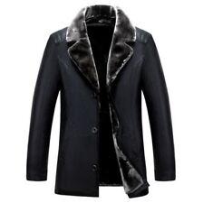 Sheepskin Leather Mens Fur Lined Thicken Lapel Parka Business Formal Jacket Coat