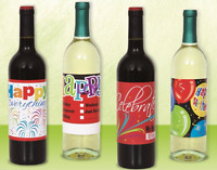 4 WINE BOTTLE LABELS HAPPY BIRTHDAY CELEBRATION PARTY TABLE DECORATION STICKERS