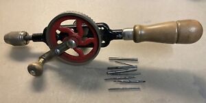Vintage Millers Falls No. 5A Egg Beater Hand Drill with Drill Bits