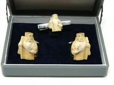 Japanese Cuff Links & Tie Clip – Vintage Carved Celluloid – God of Longevity