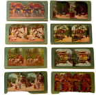 8 X stereoscopic cards Circa 1920s. Japanese Scenes Tinted/colour Good Condit